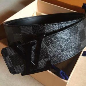 Men's LV Belt Louis Vuitton Damier Graphite 32 US